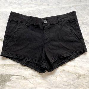 DOLLHOUSE Low Rise Crochet Trim Stretch Shorts